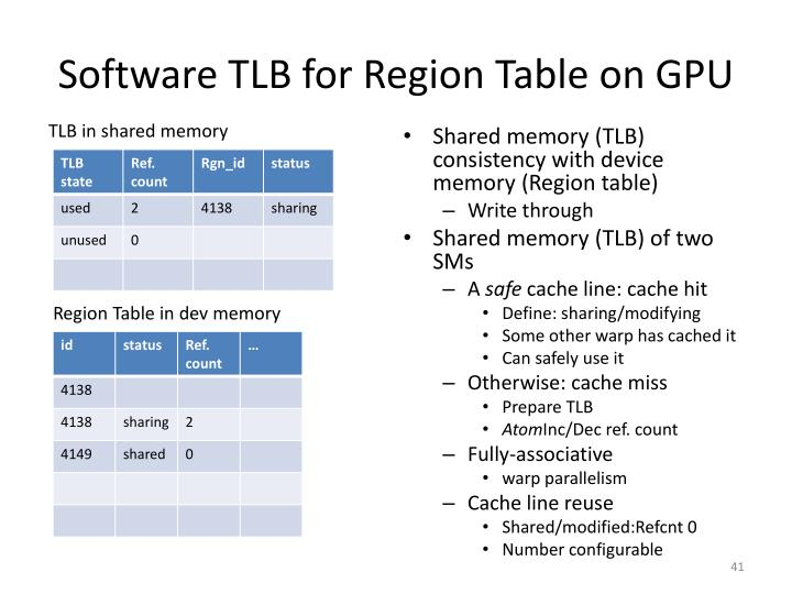 Software TLB for Region