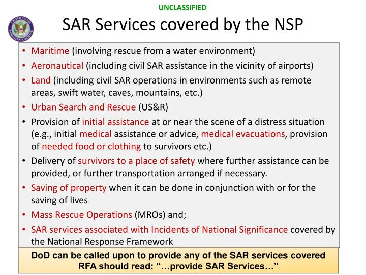 SAR Services covered by the NSP