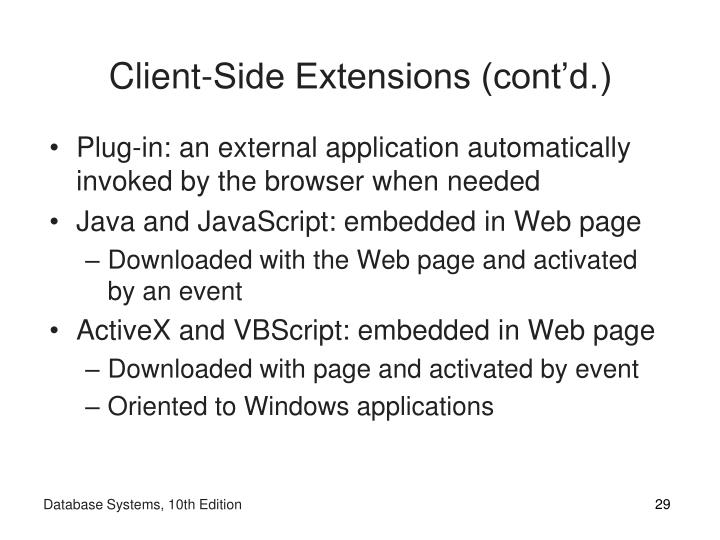 Client-Side Extensions (cont'd.)