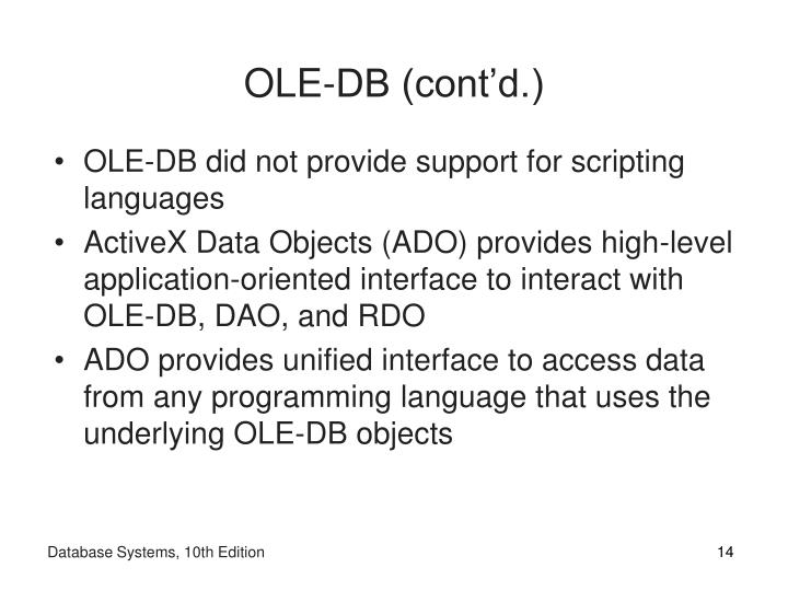 OLE-DB (cont'd.)