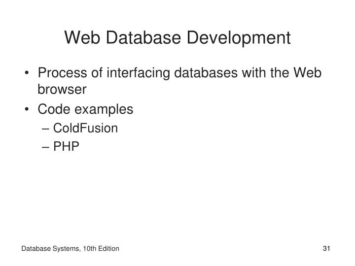 Web Database Development