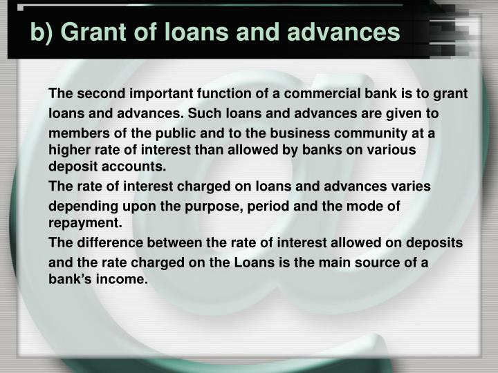 b) Grant of loans and advances