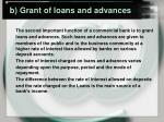 b grant of loans and advances