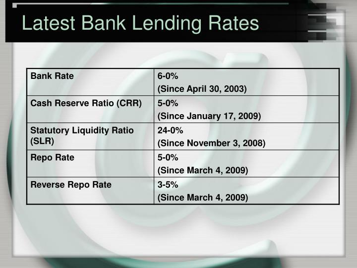 Latest Bank Lending Rates