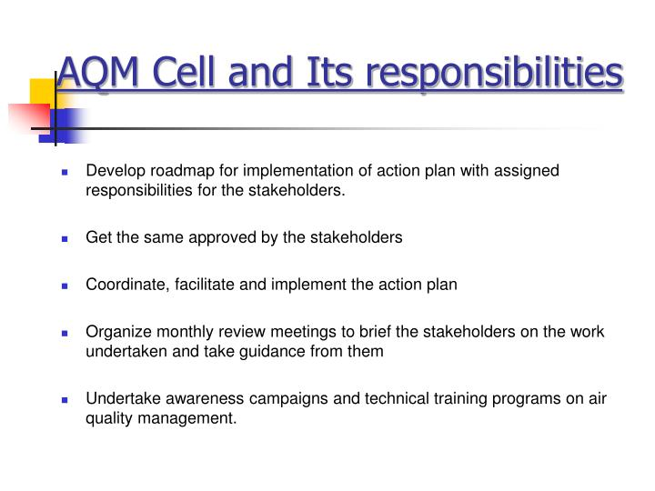 AQM Cell and Its responsibilities