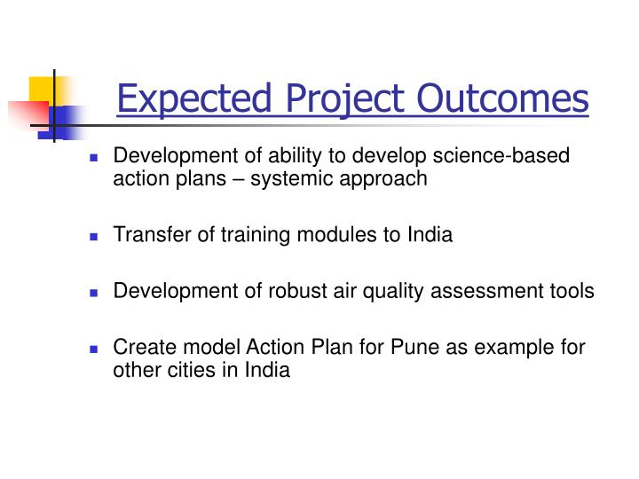 Expected Project Outcomes