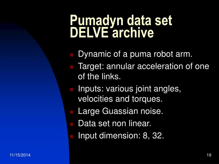 Pumadyn data set DELVE archive