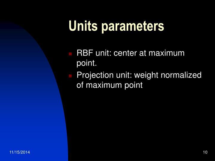 Units parameters