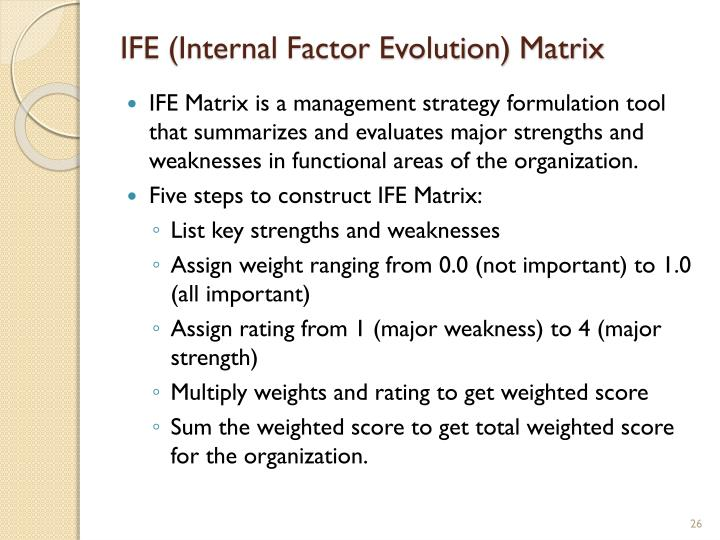 IFE (Internal Factor Evolution) Matrix