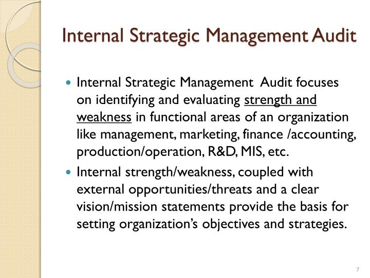 Internal Strategic Management Audit