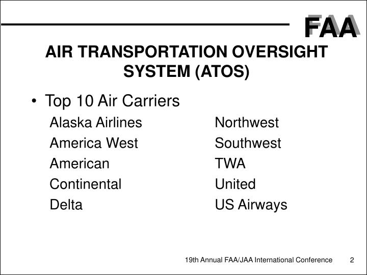 Air transportation oversight system atos1