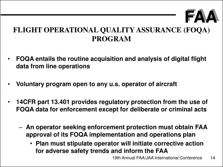 FLIGHT OPERATIONAL QUALITY ASSURANCE (FOQA) PROGRAM
