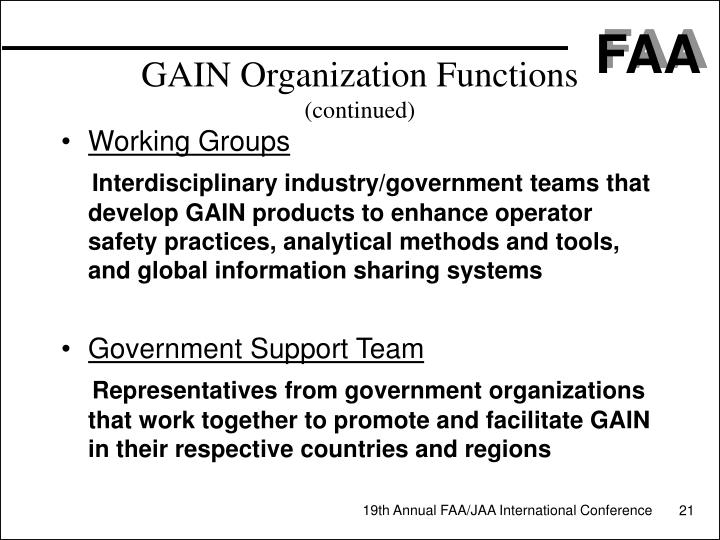 GAIN Organization Functions