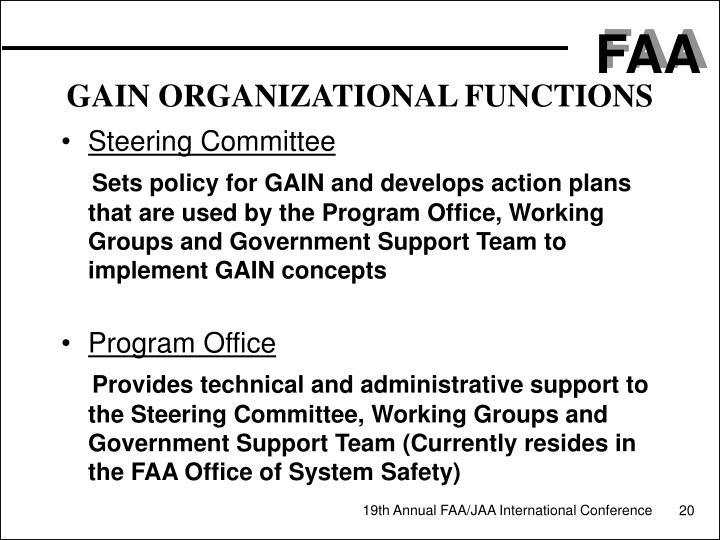GAIN ORGANIZATIONAL FUNCTIONS