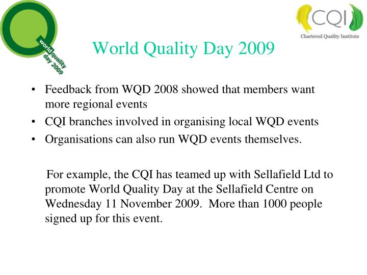 World Quality Day 2009