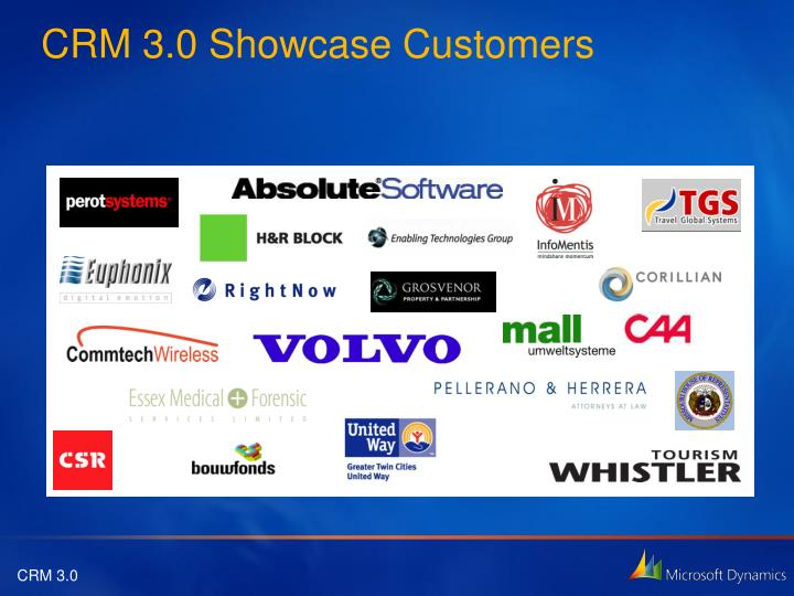 Crm 3 0 showcase customers