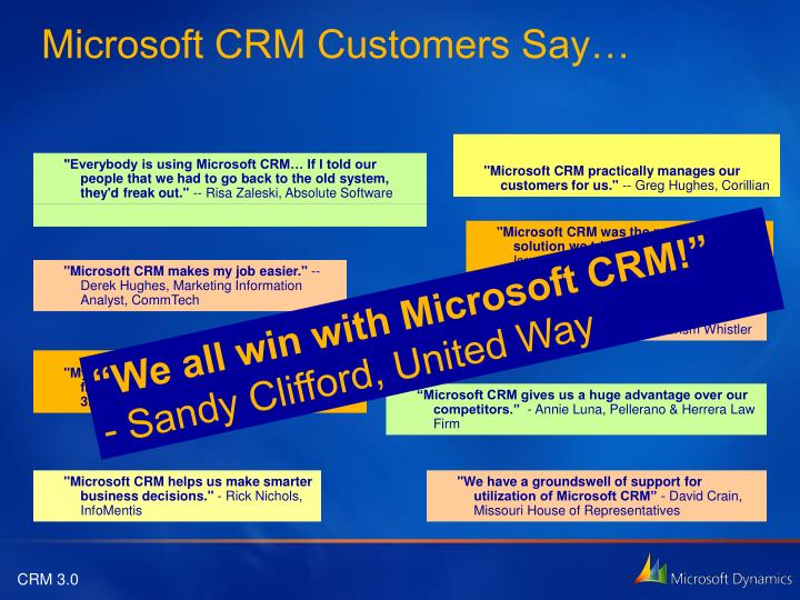 Microsoft CRM Customers Say…