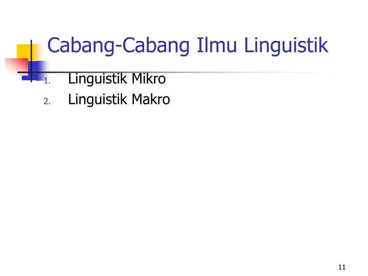 Cabang-Cabang Ilmu Linguistik