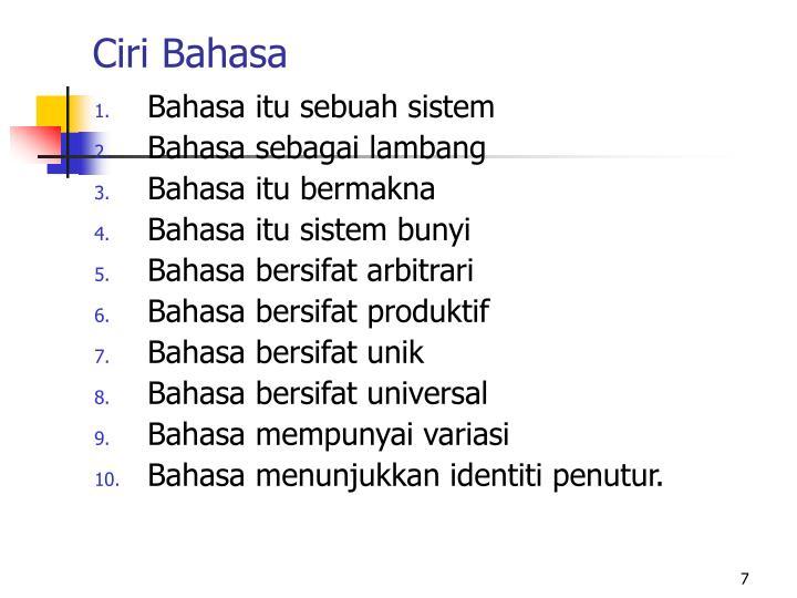 Ciri Bahasa