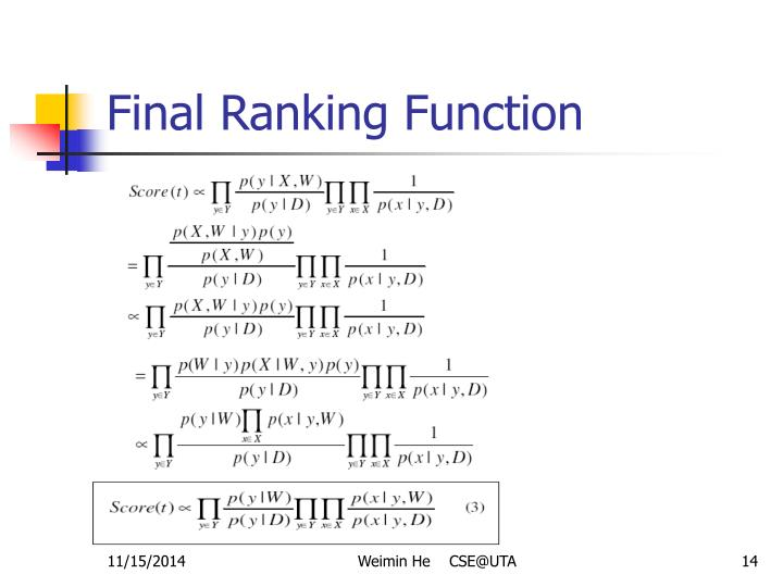 Final Ranking Function