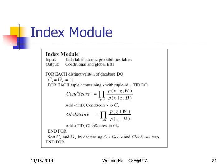 Index Module