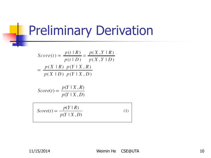 Preliminary Derivation