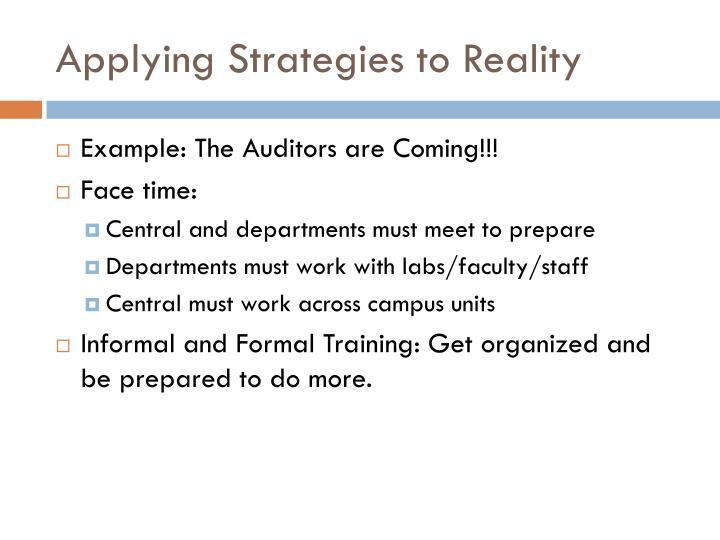 Applying Strategies to Reality