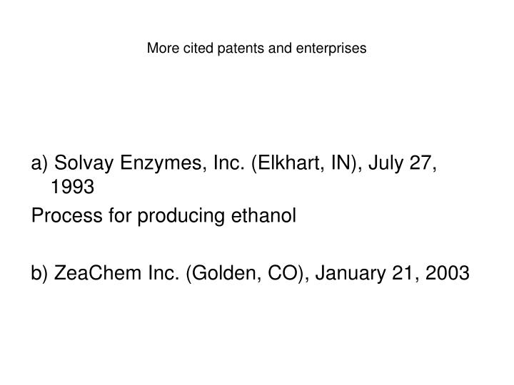 More cited patents and enterprises
