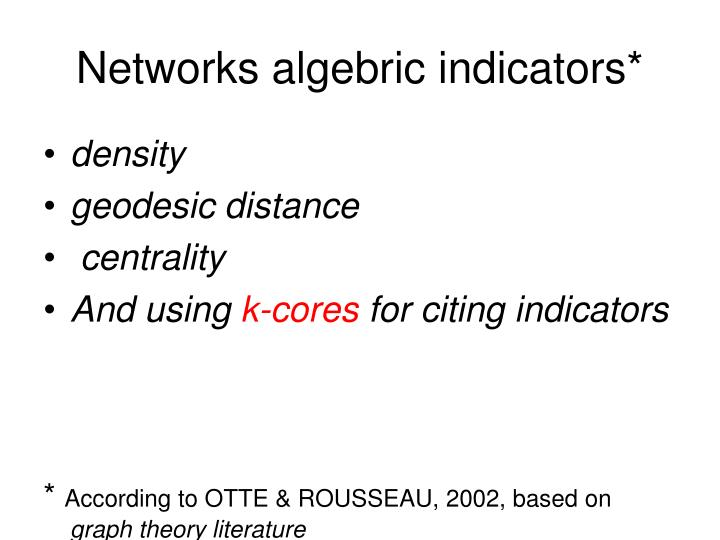 Networks algebric indicators*