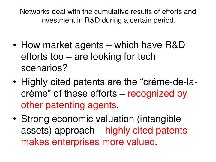 Networks deal with the cumulative results of efforts and investment in R&D during a certain period.
