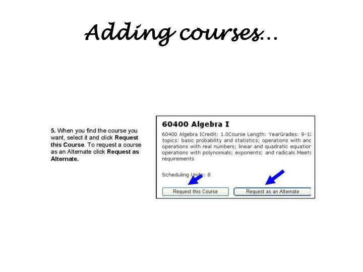 Adding courses…