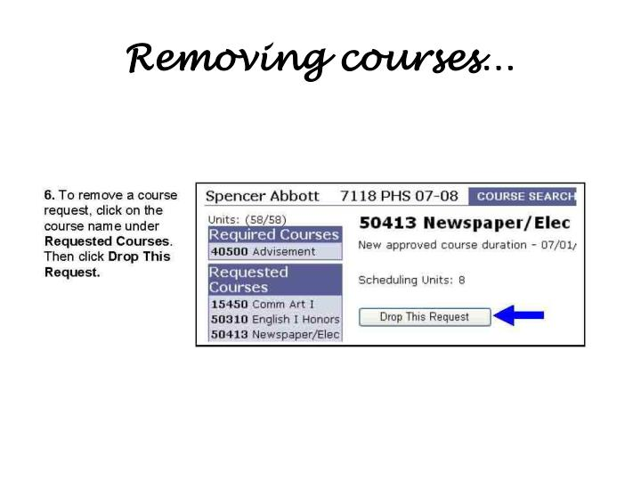 Removing courses…