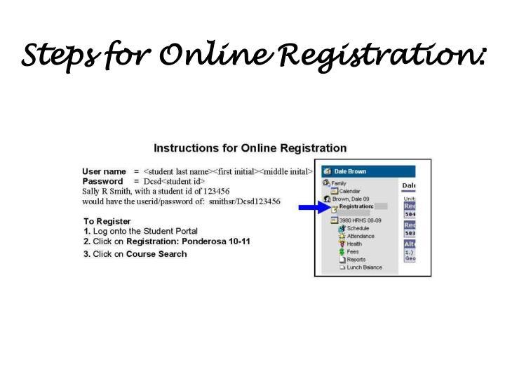 Steps for Online Registration: