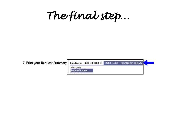 The final step…