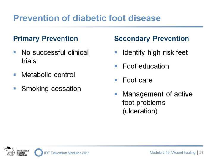 Prevention of diabetic foot disease