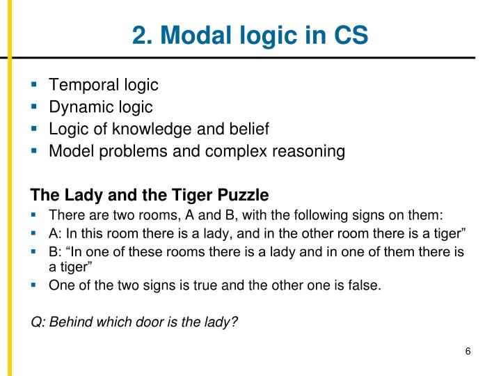 2. Modal logic in CS