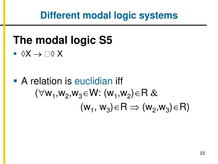 Different modal logic systems