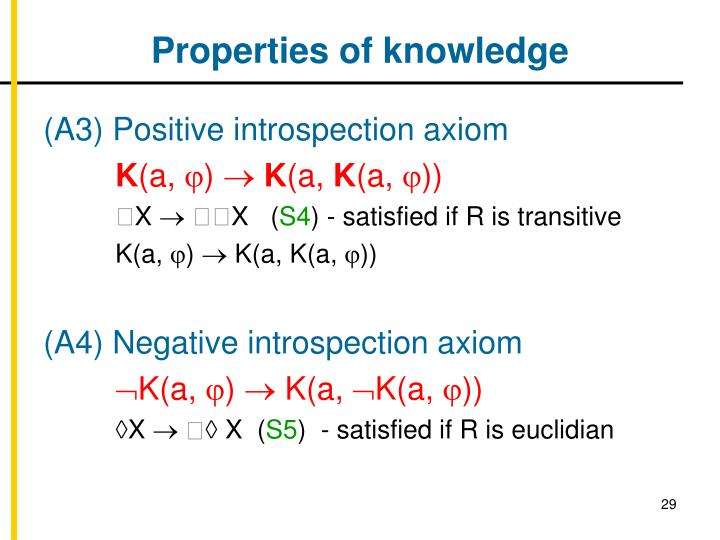 Properties of knowledge