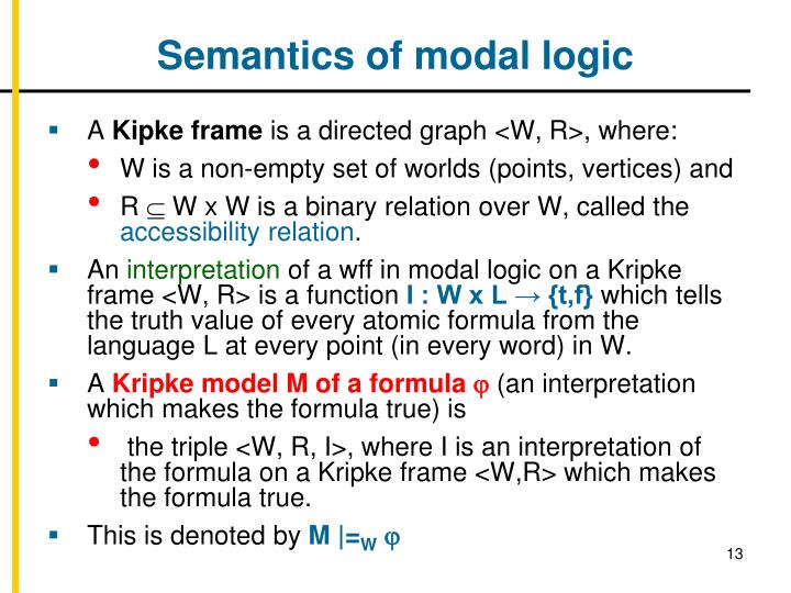 Semantics of modal logic