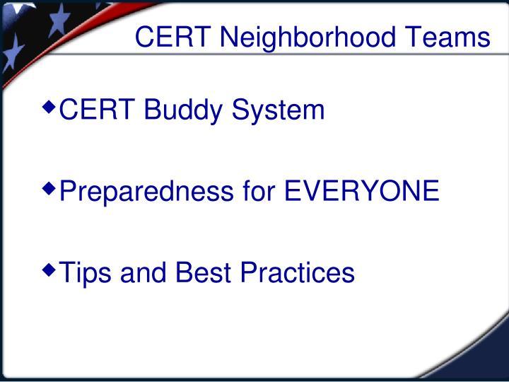 CERT Neighborhood Teams