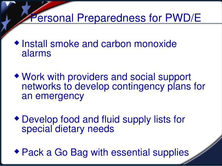 Personal Preparedness for PWD/E