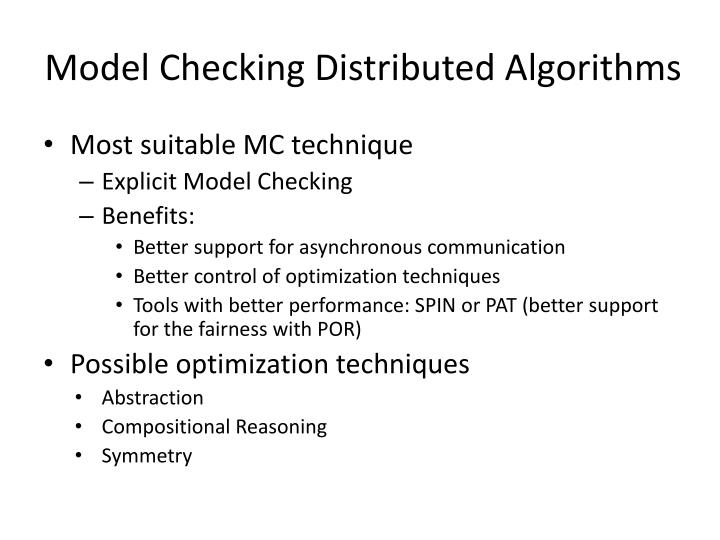 Model Checking Distributed Algorithms