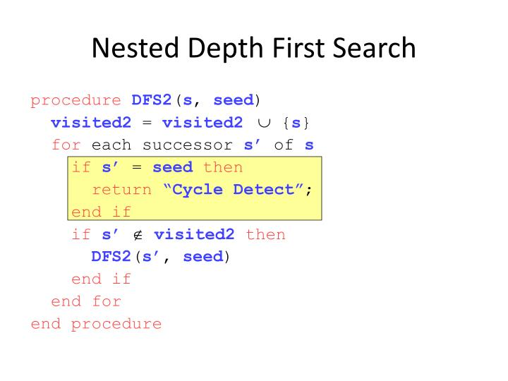 Nested Depth First Search