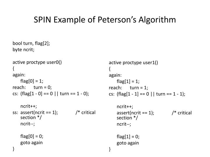 SPIN Example of Peterson's Algorithm