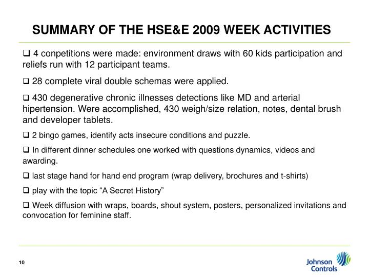 SUMMARY OF THE HSE&E 2009 WEEK ACTIVITIES