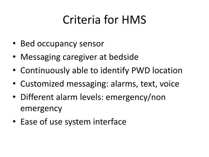 Criteria for HMS
