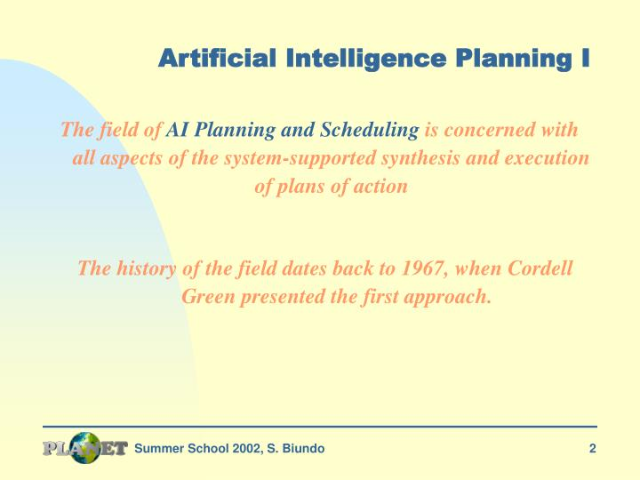 Artificial intelligence planning i