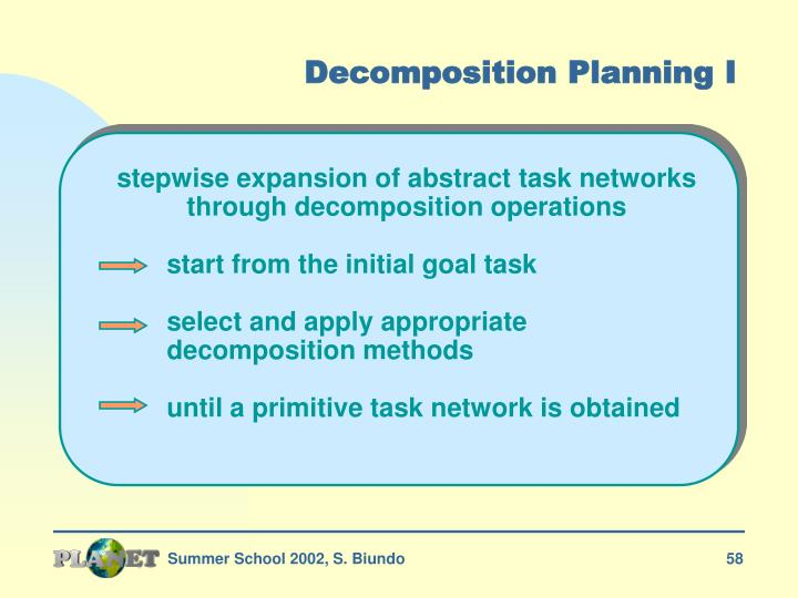 Decomposition Planning I