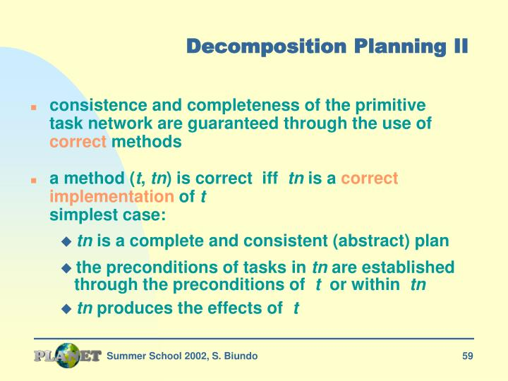 Decomposition Planning II