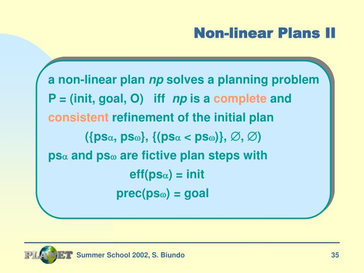 Non-linear Plans II